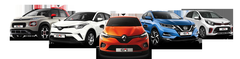 Modelli di automobili in fila
