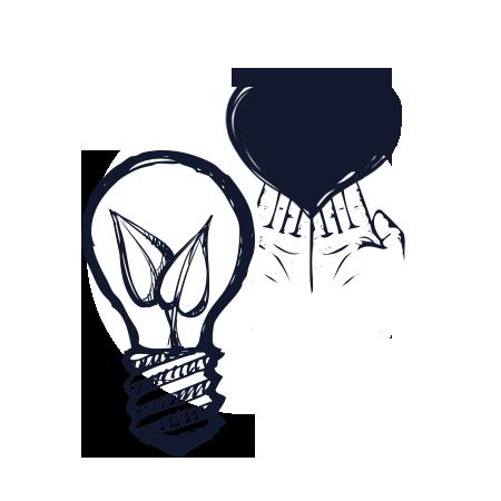 Icona lampadina e mani con cuore