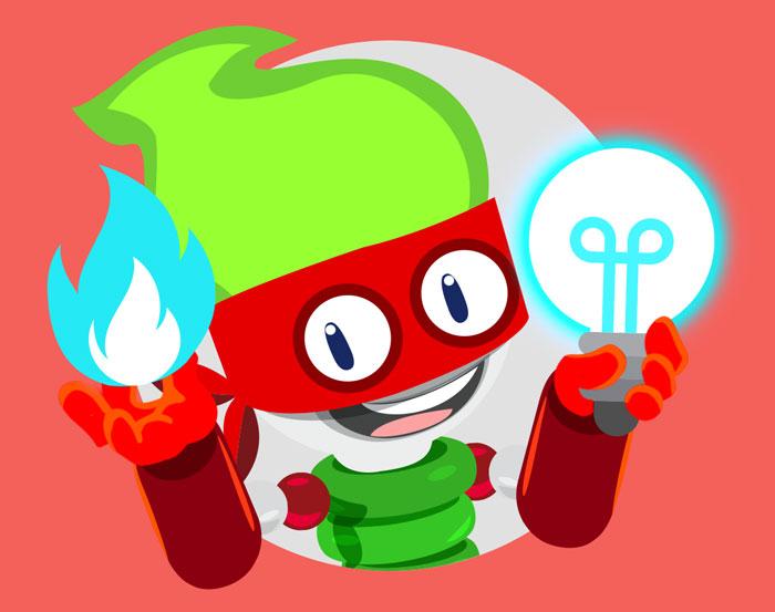 Poddy mascotte Eicom con lampadina e fiammella di gas