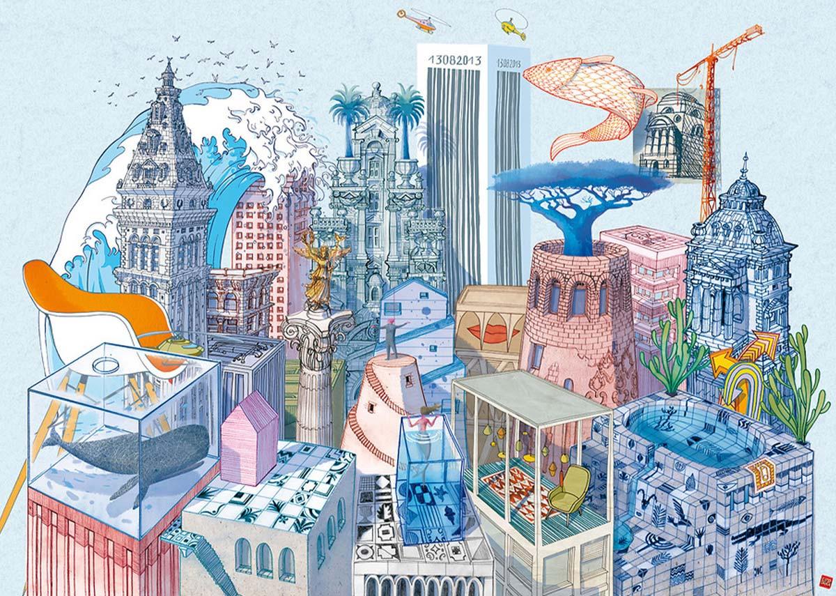 Le città invisibili di Italo Calvino in un'illustrazione di Anastasia (2014)